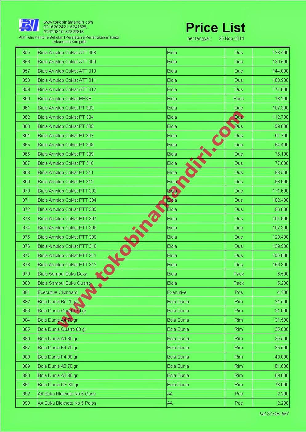 Daftar Harga Peralatan Sekolah 2015