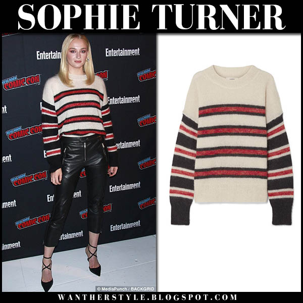 Sophie Turner in striped knit sweater isabel marant russell and black leather pants comic con 2018