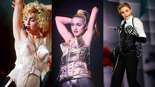 Images showing Madonna in the iconic cone shaped bra designed for her by Jean-Paul Gaultier in 1990.
