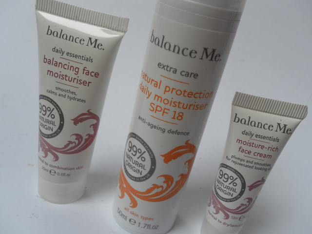 A picture of Balance Me Moisture-Rich Face Cream, Natural Protection Daily Moisturiser SPF18 and Balancing Face Moisturiser