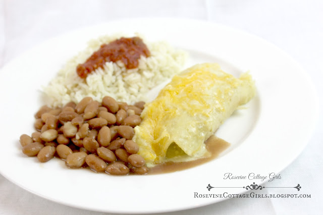 Creamy Chicken Enchilada Recipe | photo of a plate of creamy chicken enchiladas with beans and rice | rosevinecottagegirls.com | chicken enchiladas | white enchiladas