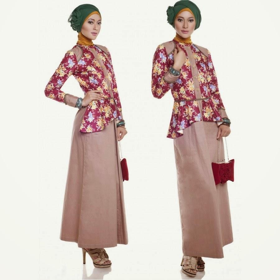 Contoh model gamis batik kombinasi brokat polos dua warna renda kebaya ...