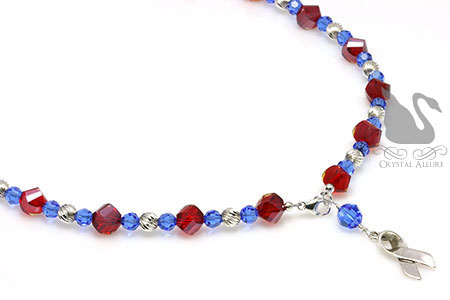 Red and Blue Pulmonary Fibrosis Awareness Necklace (NAB102)