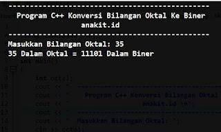pembahasan cara membuat program mengkonversi bilangan Oktal ke Biner dalam pemograman C++