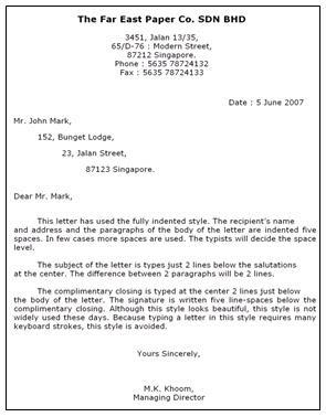 Contoh Surat Hanging Paragraph Dalam Bahasa Inggris