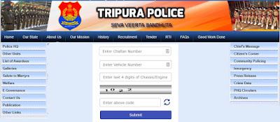 Tripura (Agartala) Traffic Police E- Challan Fine List