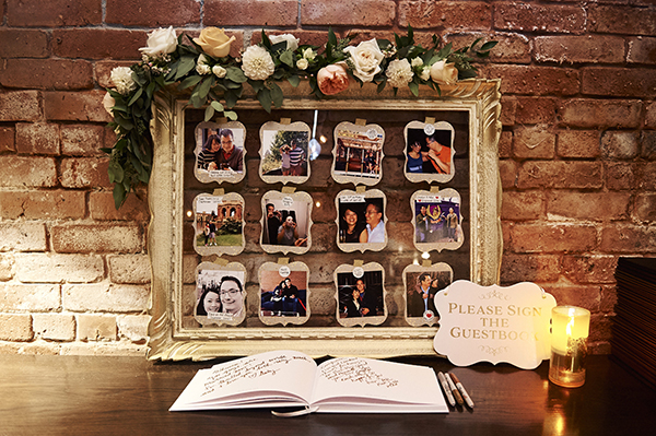 DIY photo collage featuring Bespoke Decor rented gold glass frame, decorated with a floral garland by Flower Factory