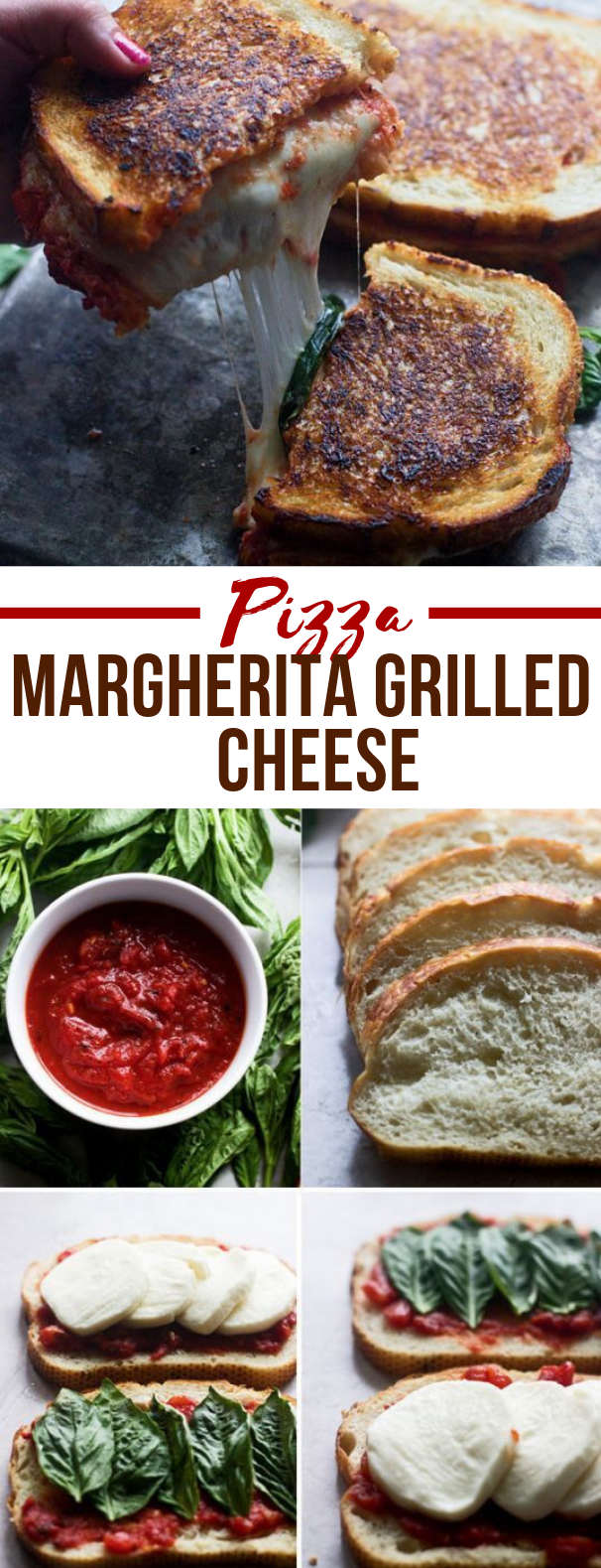 Pizza Margherita Grilled Cheese #dinner #sandwich