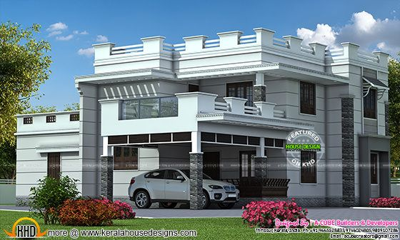 Decorative flat roof home