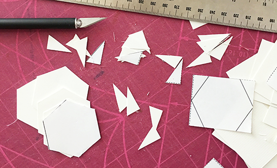 Cutting Hexagon Templates from Heavy Card Stock for English Paper Piecing