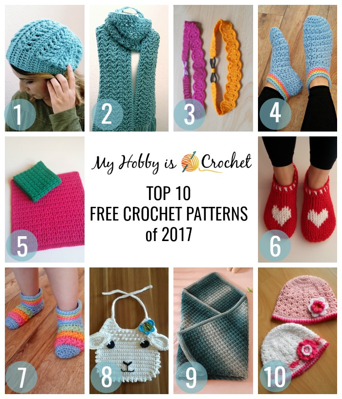 Top 10 Free Crochet Patterns of 2017 from myhobbyiscrochet.com