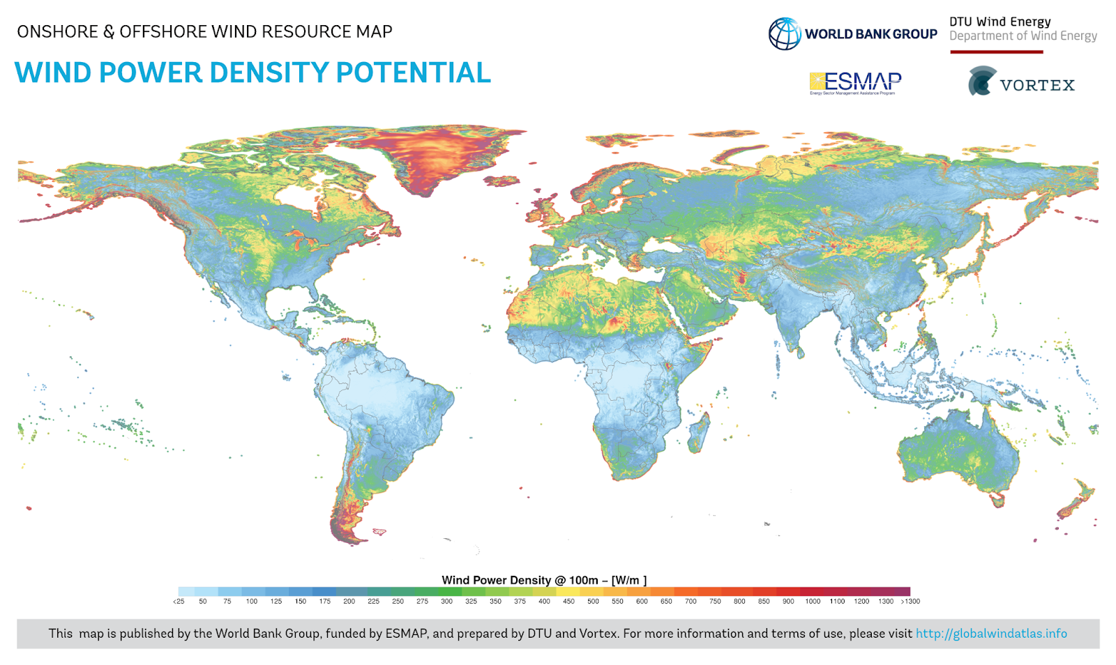 Wind power density potential