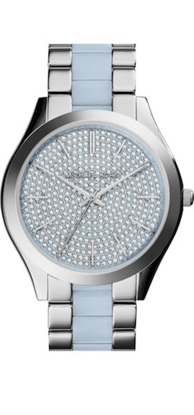 Michael Kors 'Slim Runway' Pavé Dial Blush Acetate Link Bracelet Watch