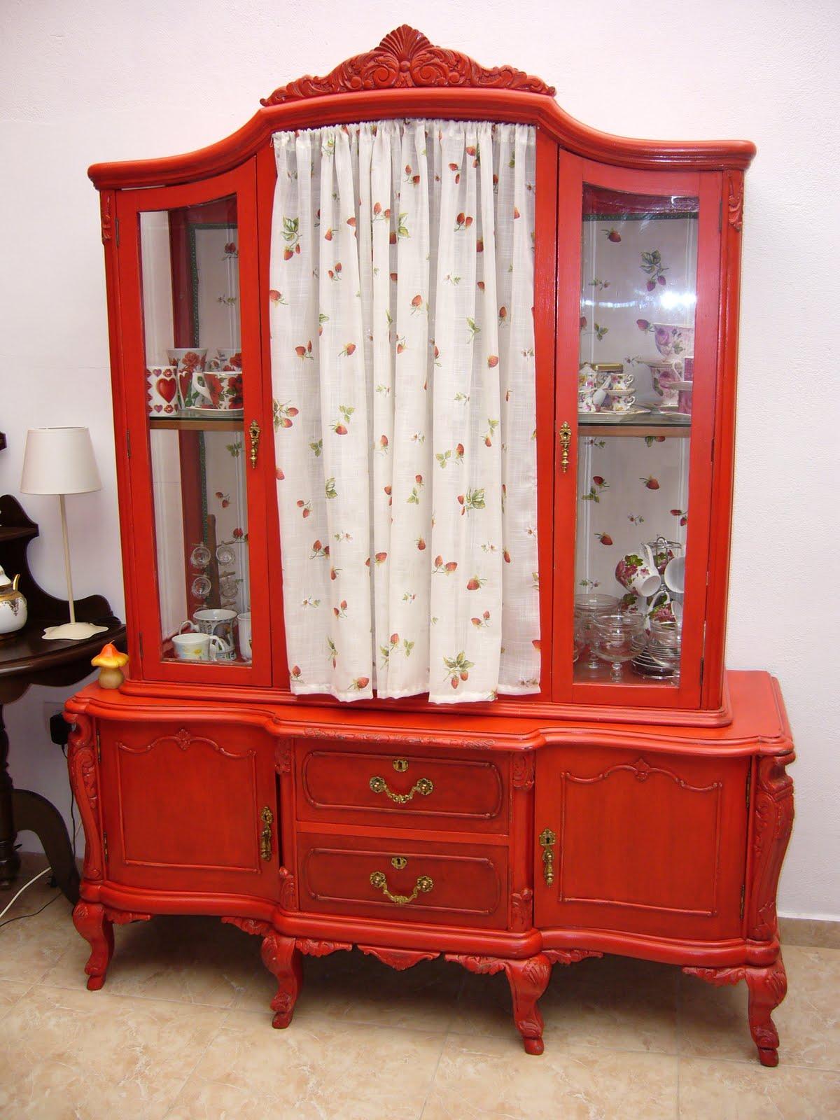 La Restauradora Muebles Patinados Cuatro Rojos  # Muebles Patinados En Blanco