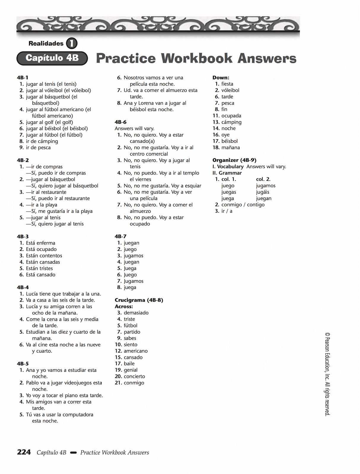 Spanish 1 Worksheets With Answers : Realidades capitulo b answers