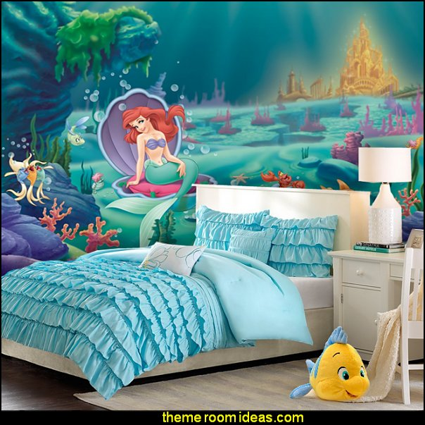 Ariel mermaid Waterfall Comforter  Little Mermaid Ariel  Theme Bedroom - Mermaid decor - Disney The Little Mermaid decor - mermaid bedroom decor ariel themed -  Disney Princess Ariel Furniture - Little mermaid princess Ariel Under the sea -  Disney Ariel Sea Princess