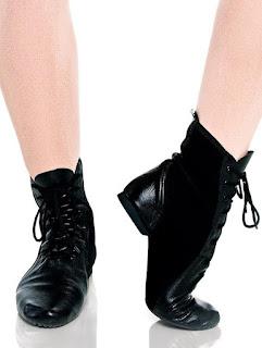 botinha cano longo preta jazz sapato de dança