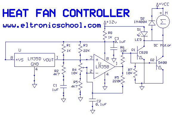 Thermostat Fan Circuit Free Electronic Circuits 8085 Projects