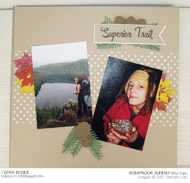 Embossing Paste, Pattern Party mask, Pretty Pines and Seasonal Layers thinlits, with Brushwork Alpha stamp set- all from Stampin' Up! This is the first Scrapbooking Sunday blog hop!~Tanya Boser