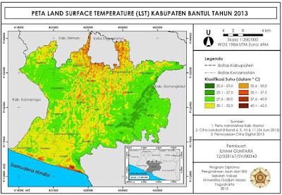 Contoh Peta Suhu Permukaan Lahan Kabupaten Bantul Tahun 2013 www.guntara.com