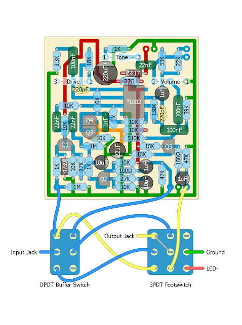the off-board wiring's not the most intuitive, so here's a diagram for  wiring up the buffer switch and 3pdt bypass footswitch
