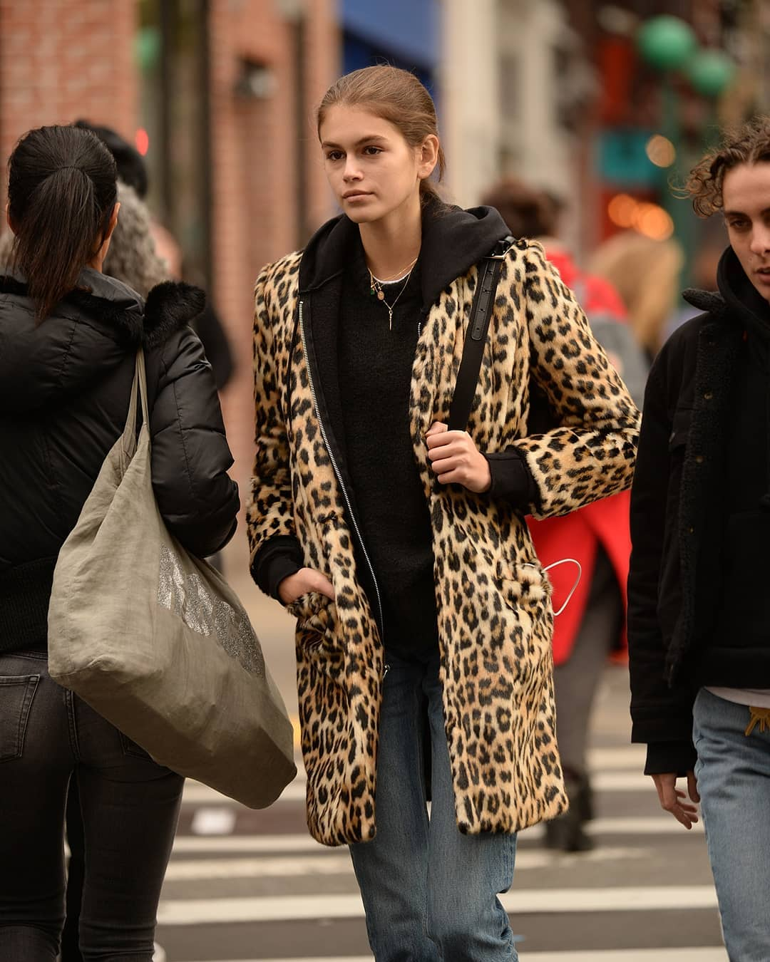 Kaia Gerber's Leopard Coat is Everything
