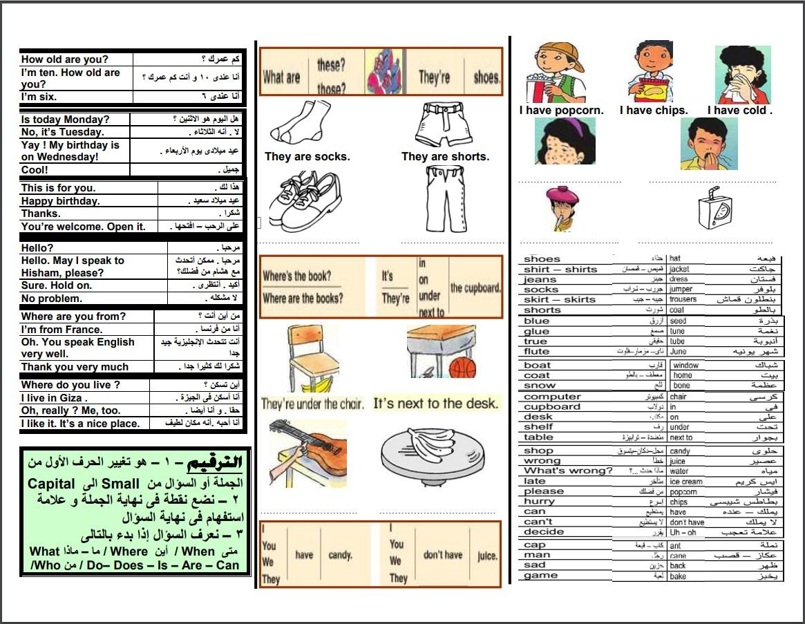 ملخص اللغه الانجليزيه للصف الثالث الابتدائي الترم الثاني في ورقتين لمستر على الهارونى