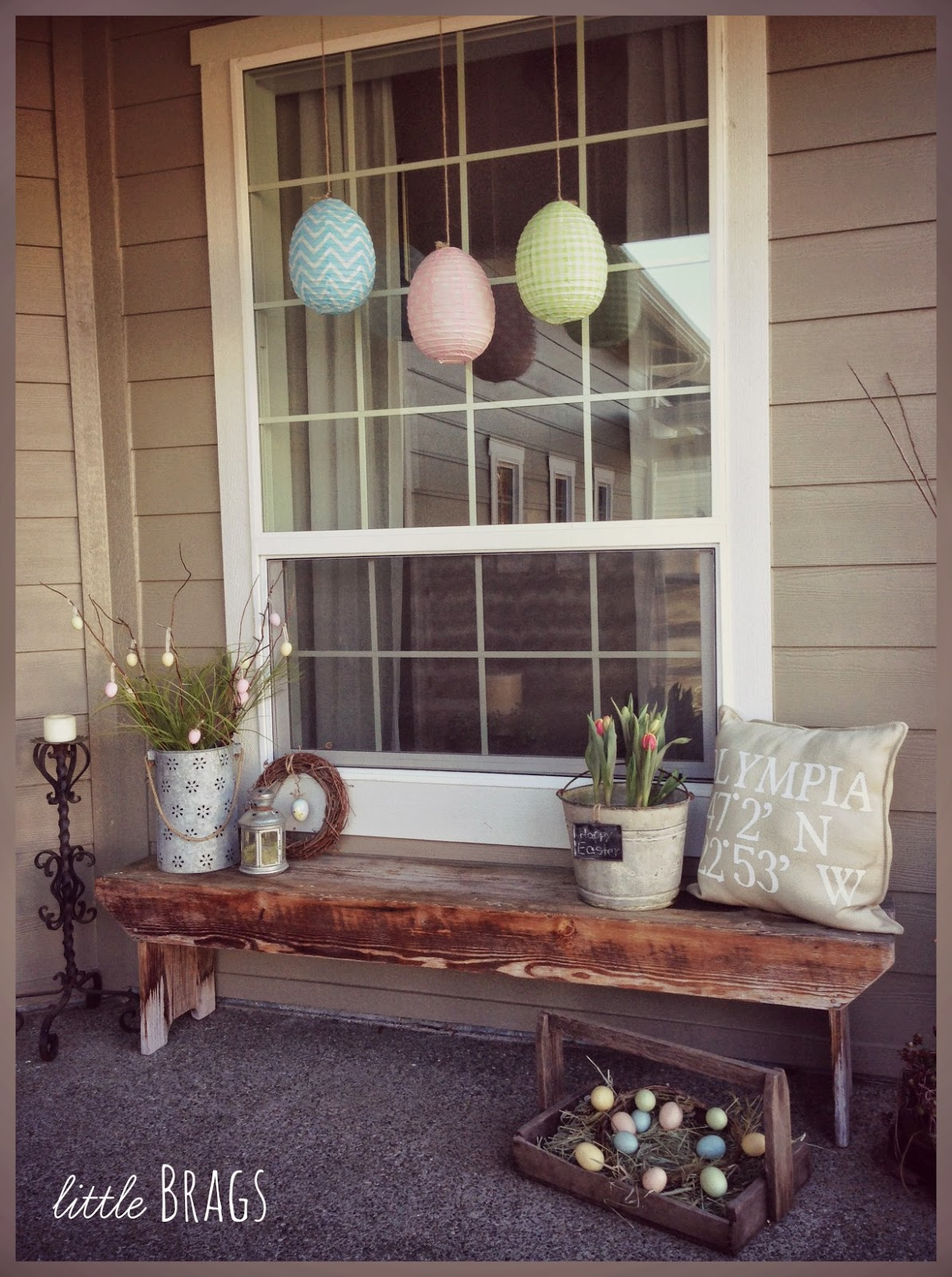 Little brags a little easter decorating on the front porch for Outdoor decorating ideas for spring