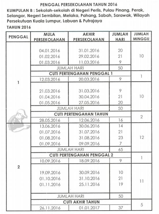 Kalendar 2016 Cuti Sekolah Malaysia 16