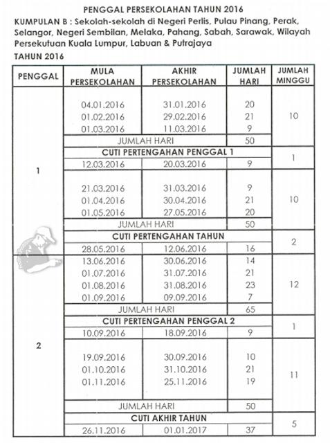 Jadual Persekolahan dan Cuti Sekolah 2016