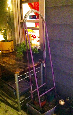 Container Garden Trellis made from Re-purposed Clothing Rack