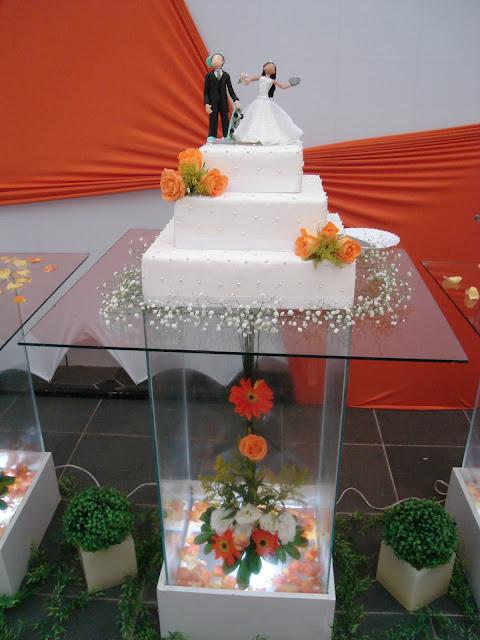 Decorações Decoração para Casamento Laranja e Branco (Buffet e