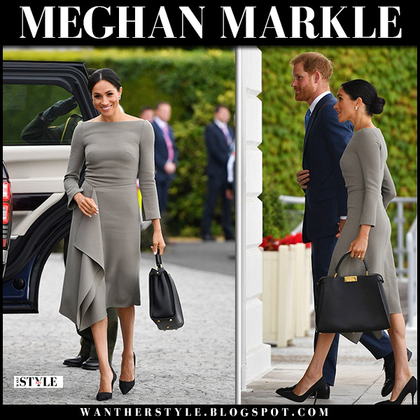 Meghan Markle in brown grey midi dress roland mouret and black shoes paul andrew royal family fashion july 11