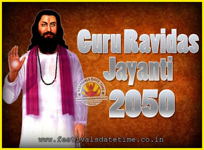 2050 Guru Ravidas Jayanti Date & Time, 2050 Ravidas Jayanti Calendar