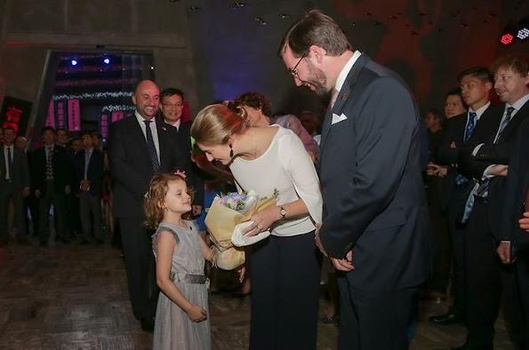 Hereditary Grand Duke Guillaume and Hereditary Grand Duchess Stephanie of Luxembourg visit China, Beijing, Hong Kong, Shanghai. Style of Princess Stephanie