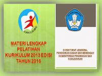 Unduh Materi Lengkap Pelatihan Kurikulum 2013 Edisi Revisi Tahun 2016