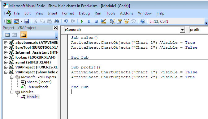 Excel for power dynamically show hide charts in the right side window enter the vba code as shown in the picture ccuart Gallery