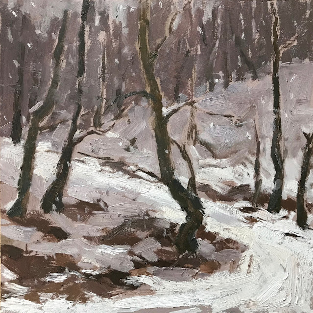 #306 'Snow falling on Bramshott Common' 10×10″