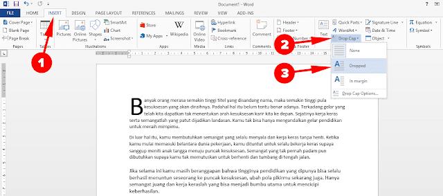 Membuat Teks Drop Cap di Microsoft Word