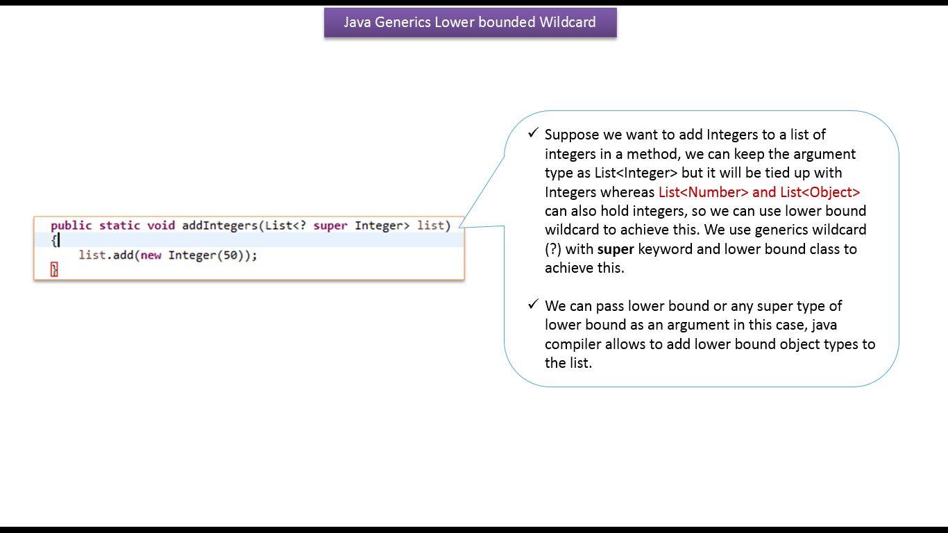 Java ee java tutorial generics in java java generics lower java tutorial generics in java java generics lower bounded wildcard in java generics baditri Gallery