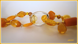 naszyjnik, bransoletka, kolczyki, żółty