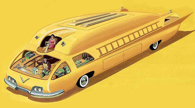 Bruce McCall illustration of a giant family car