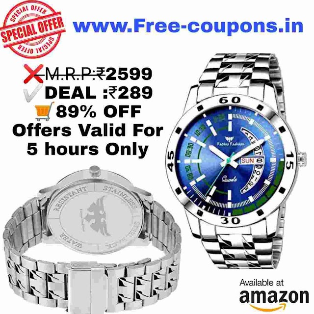 Amazon Offers - Fadiso Fashion Blue Dial Men's Watch Rs.289 only.