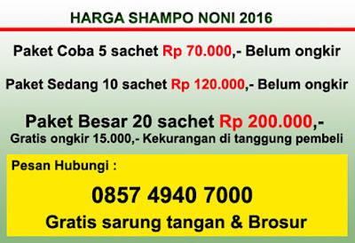 Shampo noni 1 box isi 20 sachet harga Rp 200.000