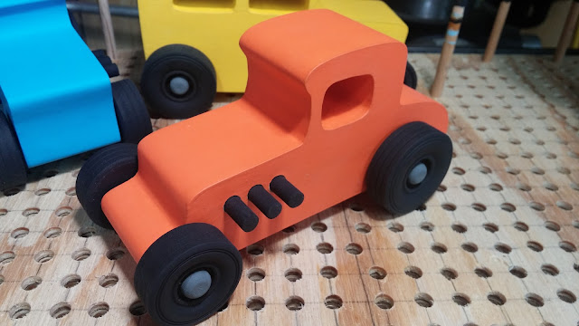 20151218_110803 Wood Toy Car  -  Hot Rod Freaky Ford - 27 T Coupe - MDF - Brushed Orange Acrylic Craft Paint - Black Wheels - Gray Hubs - Odin Christmas