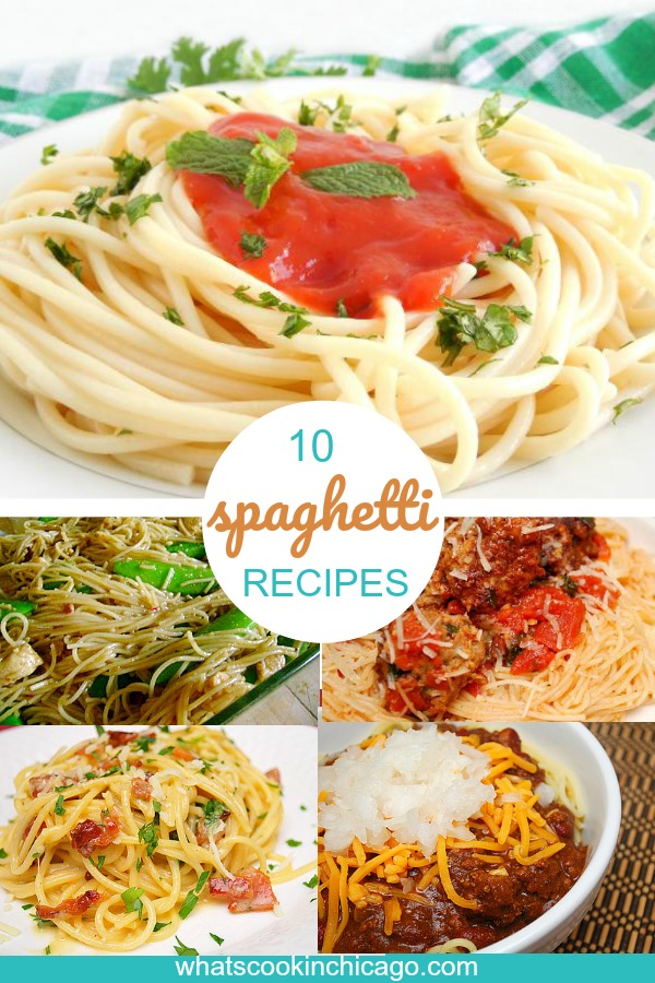 titled photo collage of spaghetti dinner recipes