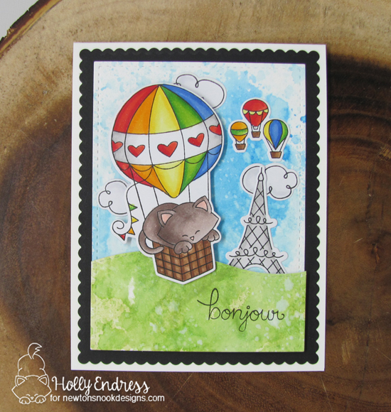 Bonjour Card by Holly Endress | Newton Dreams of Paris Stamp Set by Newton's Nook Designs #newtonsnook