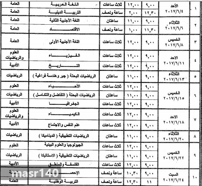 جدول امتحانات الصف الثالث الثانوى