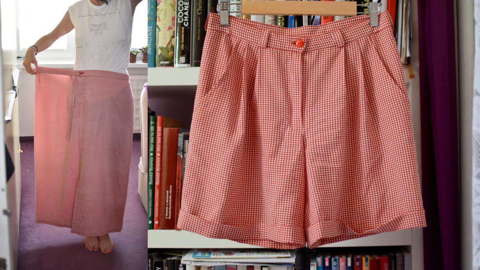 refashion / recycling: zo zavinovacej maxi sukne, trendy šortky na horúce letné dni // from maxi skirt to shorts