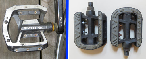 Two pictures of platform bicycle pedals